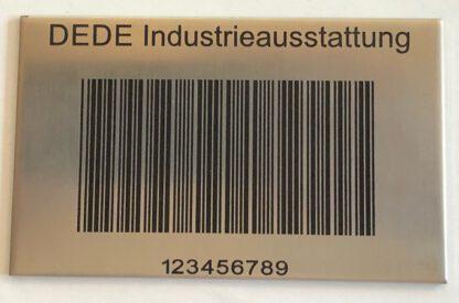 Bodenlagerkennzeichnung mit Barcode aus Stahl